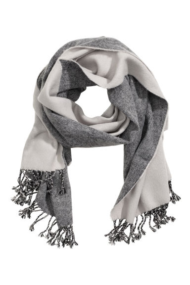 Jacquard-weave scarf - Grey - Ladies | H&M GB