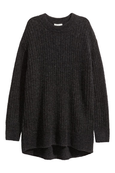 Oversized mohair-blend jumper - Black marl - Ladies | H&M GB