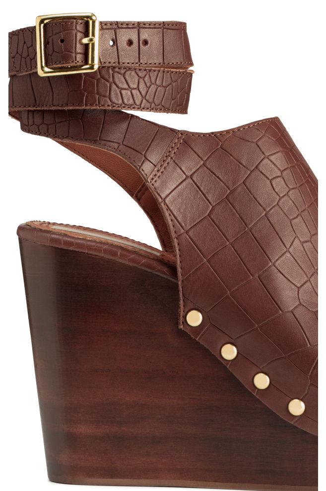 dae37f67f ... Wedge-heel leather sandals - Dark brown Patterned - Ladies