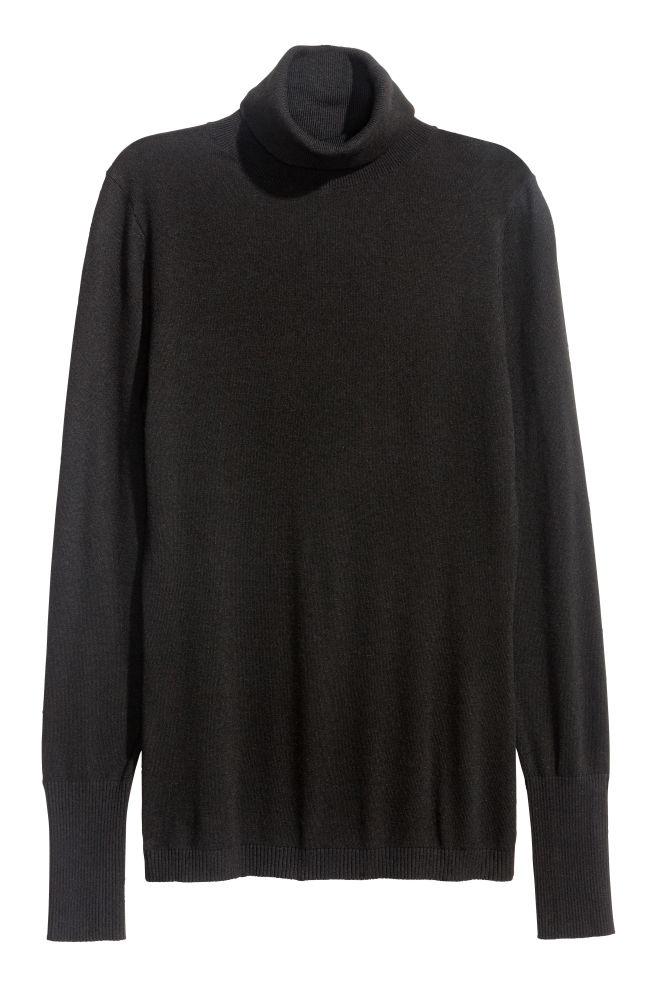 267ed4584ed Fijngebreide coltrui - Zwart - DAMES | H&M ...