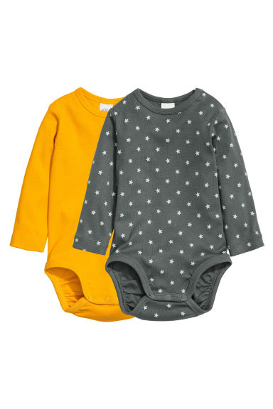 2-pack long-sleeved bodysuits - Yellow - Kids | H&M GB