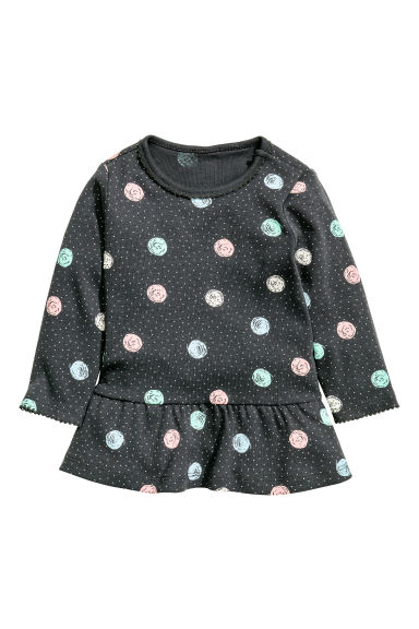 Flounced top - Dark grey/Spotted -  | H&M CN