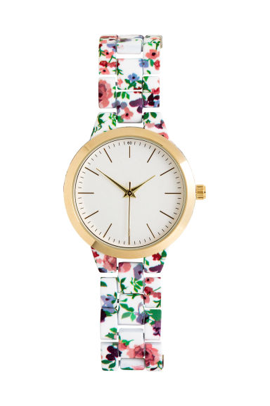 Watch with patterned links - White/Floral -  | H&M CN