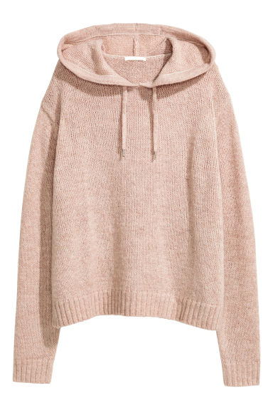 Knitted hooded jumper - Light beige marl - Ladies | H&M GB