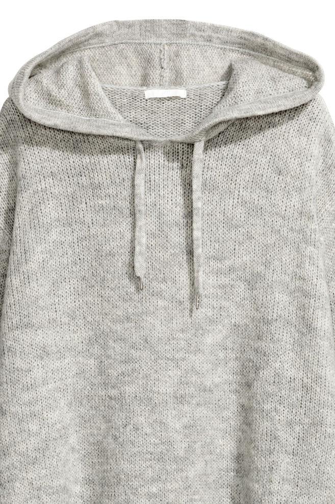b6af74540c5567 ... Knitted hooded jumper - Light grey marl - Ladies   H&M ...