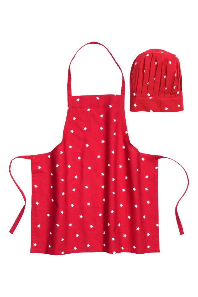 Delantal y gorro de cocinero - Rojo Estrellas - HOME  04ac6fdcf82