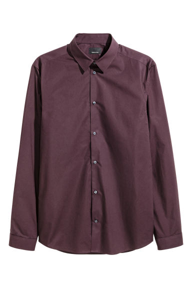 Premium cotton shirt - Aubergine - Men | H&M