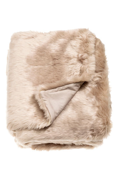 Faux fur blanket - Beige - Home All | H&M GB