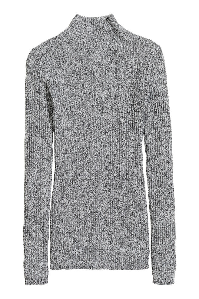 0bb9fa8085d Ribgebreide coltrui - Zwart/wit gemêleerd - DAMES | H&M ...