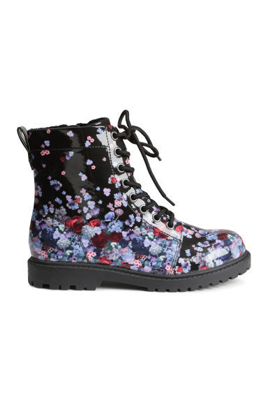 Warm-lined boots - Black/Floral - Kids | H&M CN