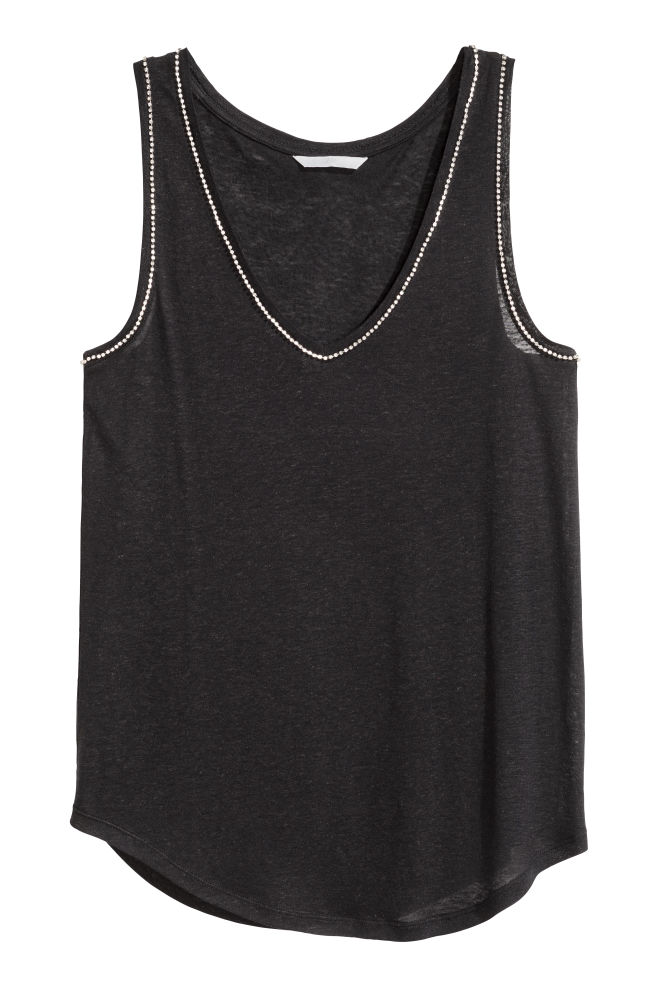 2d7431af Vest top with sparkly stones - Black - Ladies | H&M ...