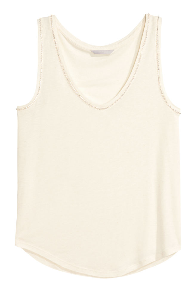 43777fa7 Vest top with sparkly stones - Natural white - Ladies | H&M ...