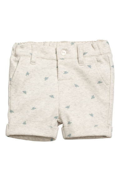 Patterned jersey shorts - Light beige marl - Kids | H&M CN
