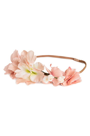 Hairband with flowers - Powder pink - Ladies | H&M CN