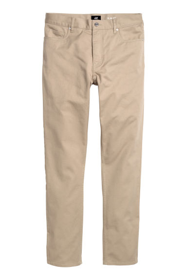 Twill trousers Slim fit - Beige -  | H&M GB