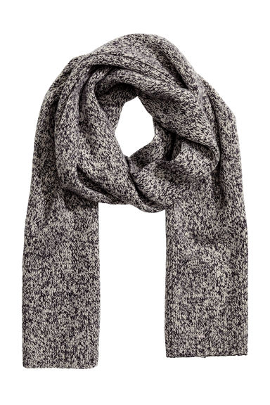 Ribbed scarf - Dark grey marl - Men | H&M