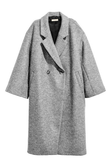 Oversized wool coat - Grey marl -  | H&M GB