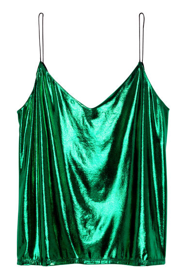 V-neck strappy top - Dark green - Ladies | H&M GB