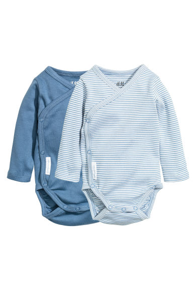 2-pack long-sleeved bodysuits - Blue - Kids | H&M GB