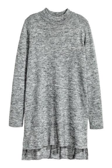 3bc4389c1012 Dlouhý pletený svetr - Šedý melír - ŽENY