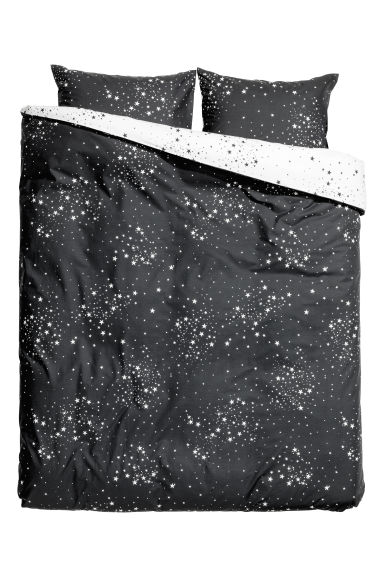 Patterned duvet cover set - Anthracite grey/Stars - Home All | H&M IE