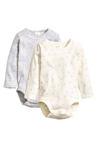 2-pack long-sleeved bodysuits - Natural white/Stars - Kids | H&M CN