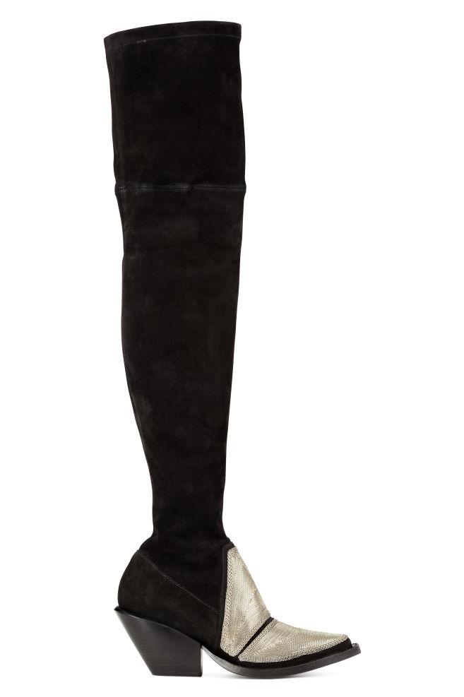ab17b5cdf091 Semišové čižmy nad kolená - čierna strieborná - ŽENY