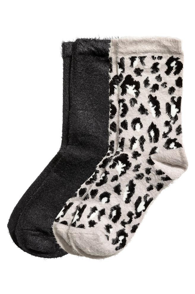 4b231376818 Lot de 2 paires de chaussettes - Gris motif léopard - FEMME