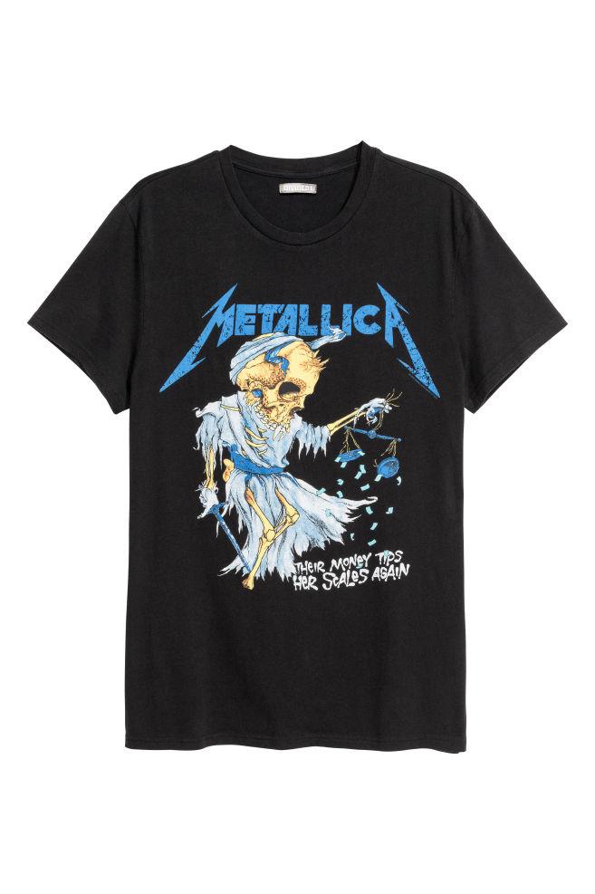 9a739a7081 Nyomott motívumos póló - Fekete/Metallica - FÉRFI | H&M ...