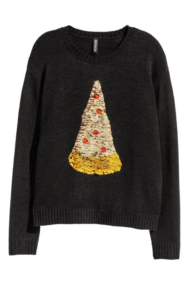 Kersttrui Lang Dames.Kersttrui Met Pailletten Zwart Pizza Dames H M Nl