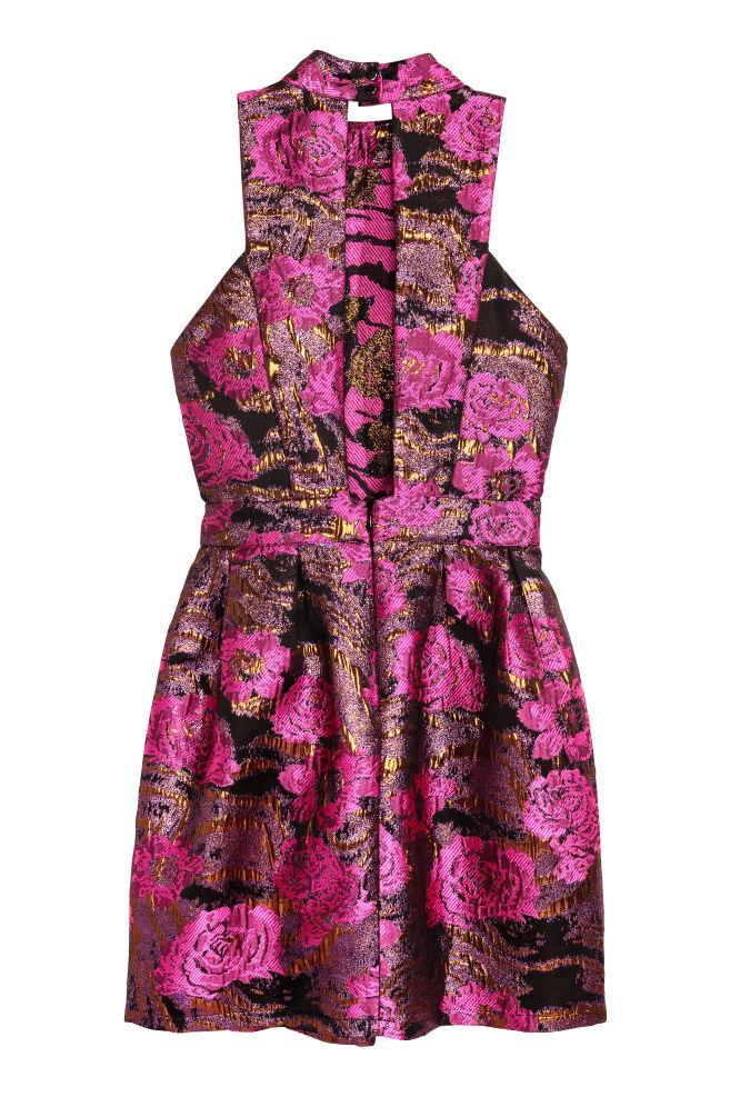 788578986912 ... Žakárové šaty - čierna ružová kvetovaná - ŽENY