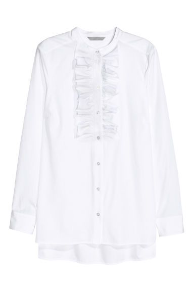 Frilled shirt - White - Ladies | H&M GB