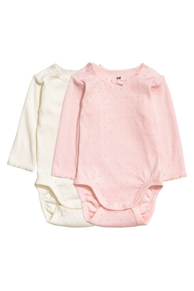 2-pack long-sleeved bodysuits - Light pink - Kids | H&M GB
