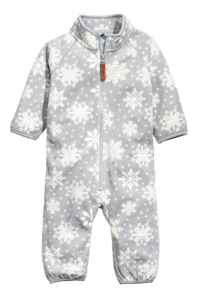 7f4aed4f2 Fleece all-in-one suit - Light grey Snowflakes - Kids