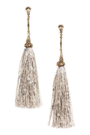 Long earrings with tassels - Light grey - Ladies | H&M GB