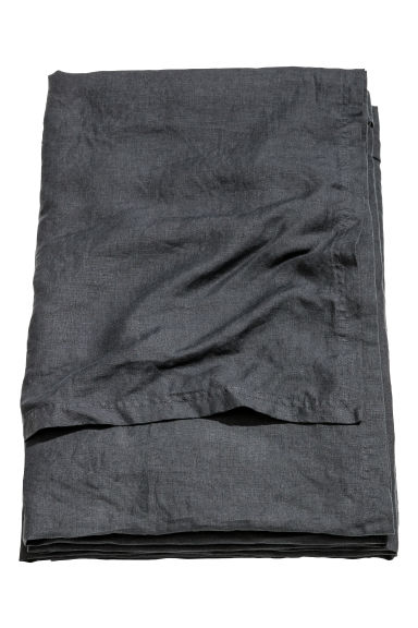 Washed linen bedspread - Anthracite grey -  | H&M IE