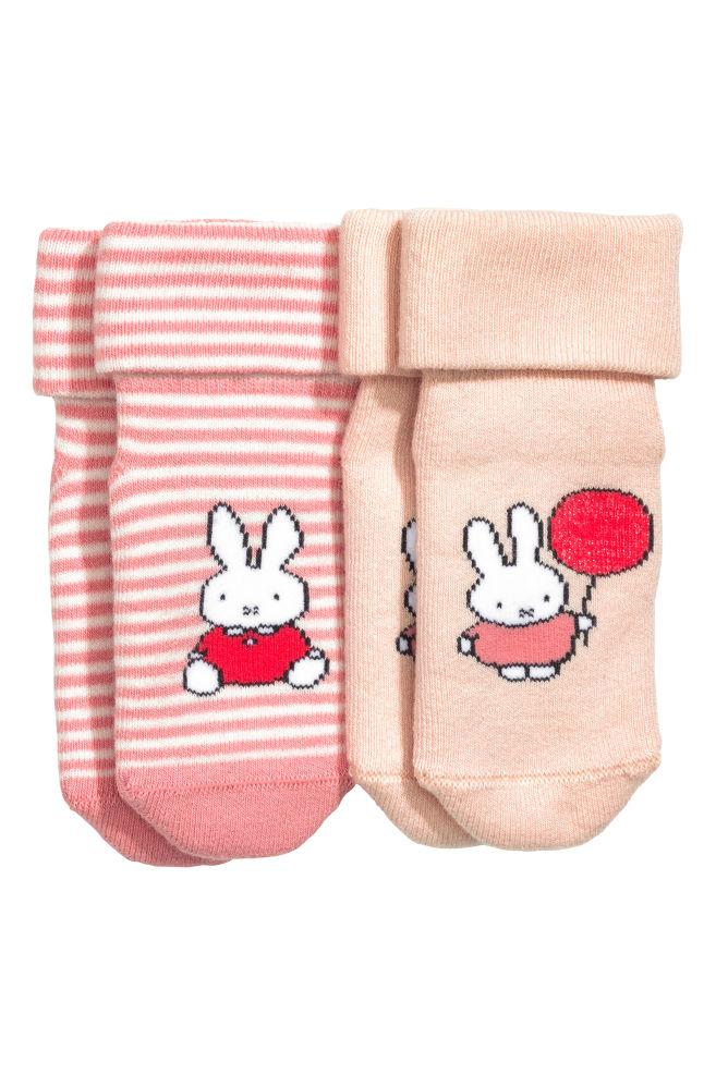2 paar badstof sokken - Poederroze/Nijntje - | H&M BE