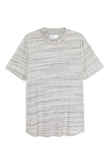 T-shirt with ribbing - Light grey marl - Men | H&M CN