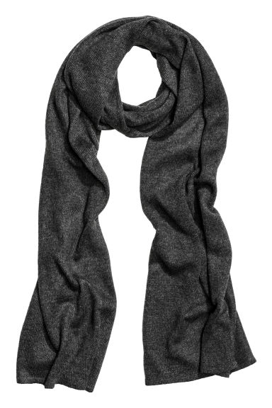 Knitted scarf - Dark grey marl - Ladies | H&M GB