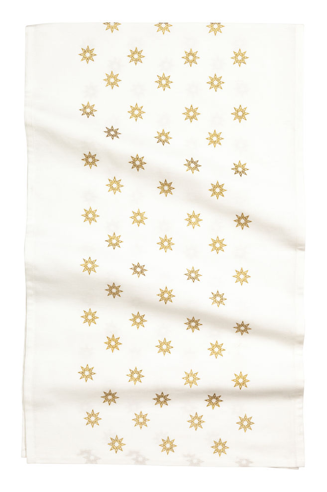 Star Print Table Runner White Gold Home All H M