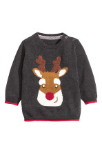 c54fc1af61 Kötött karácsonyi pulóver - Sötétszürke/rénszarvas - GYEREK | H&M HU
