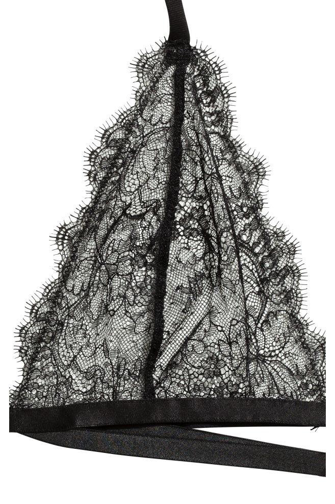 7c89f0fcd82 ... Soft halterneck lace bra - Black - Ladies   H&M ...