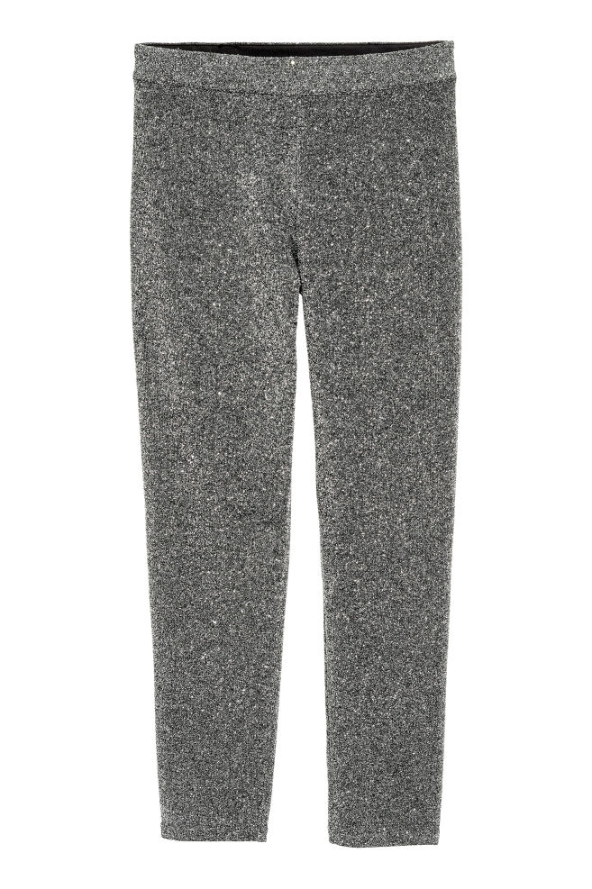a174ba5d45201 Glittery leggings - Black/Silver - Ladies | H&M ...