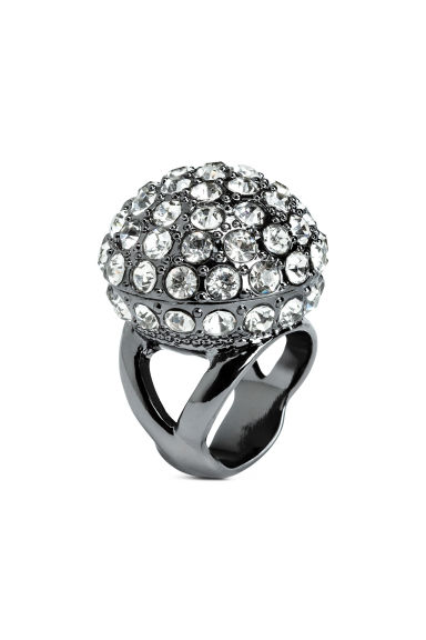 Large sparkly ring - Dark grey - Ladies | H&M CN