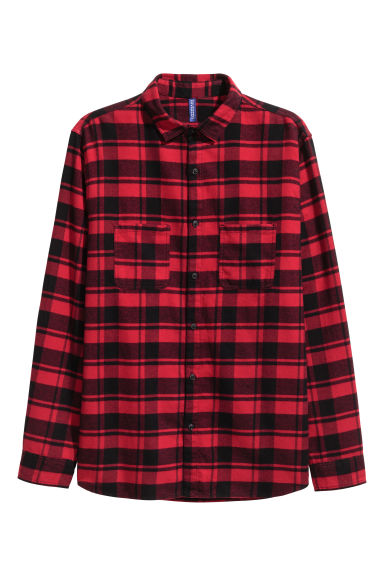 Flannel shirt - Red/Black -  | H&M