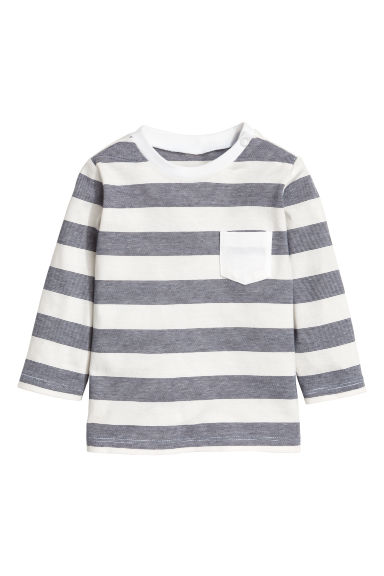 Jersey top - Dark grey/Striped -  | H&M CN