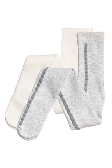 2-pack tights - Light grey/Glittery - Kids | H&M