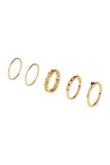 5-pack rings - Gold - Ladies | H&M CN
