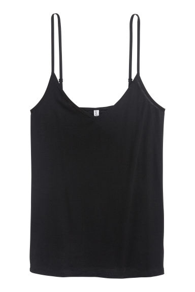 Jersey strappy top - Black -  | H&M GB