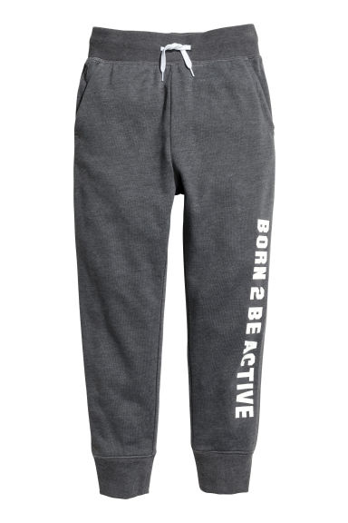Printed sweatpants - Dark grey marl -  | H&M CN
